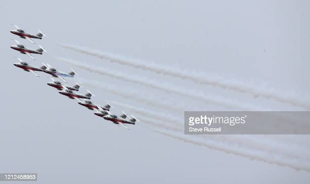 The Canadian Forces Snowbirds fly over Toronto as part of a cross-Canada tour dubbed Operation Inspiration to salute Canadians helping to fight the...