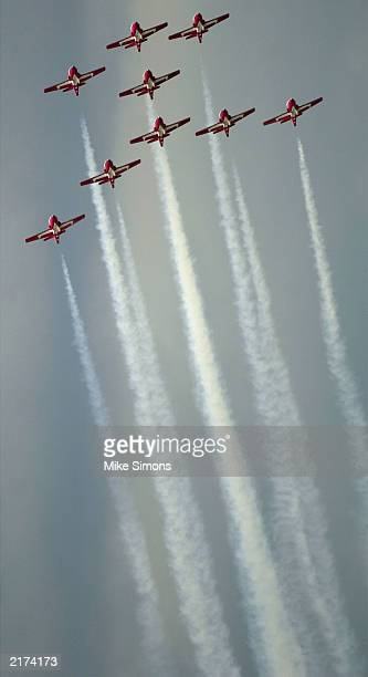 The Canadian Forces Snowbirds perform at the Vectren Dayton Airshow at Dayton International Airport July 18 2003 in Dayton Ohio The airshow takes...