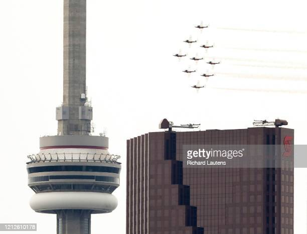 The Canadian Forces Snowbirds precision flight squad flew over Toronto This was a morale flight over various hospitals who have been on the front...