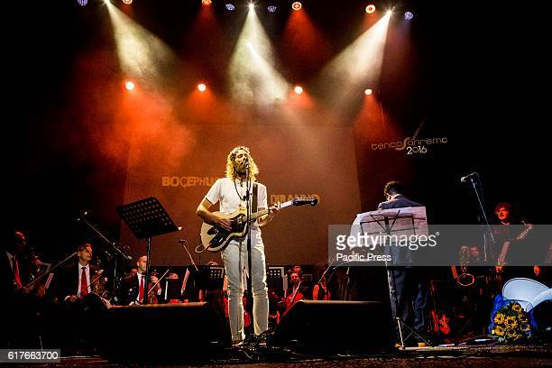 The Canadian indie singer Bocephus King pictured on stage as he performs live Tenco Festival 2016 at Teatro Ariston in Sanremo