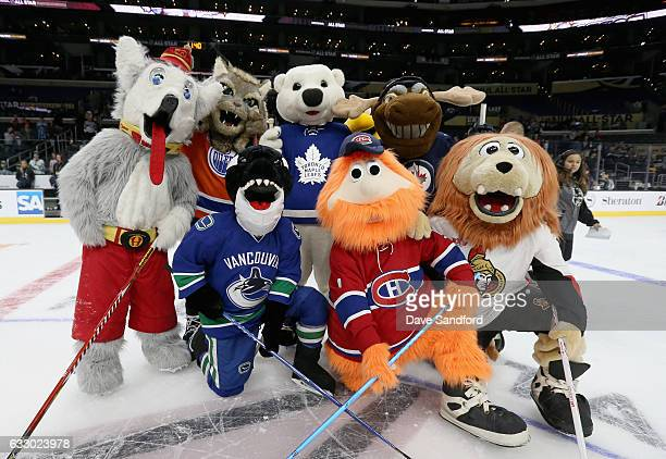 The Canadian NHL team mascots pose together after the Mascot Showdown before the 2017 Honda NHL AllStar Game at Staples Center on January 29 2017 in...