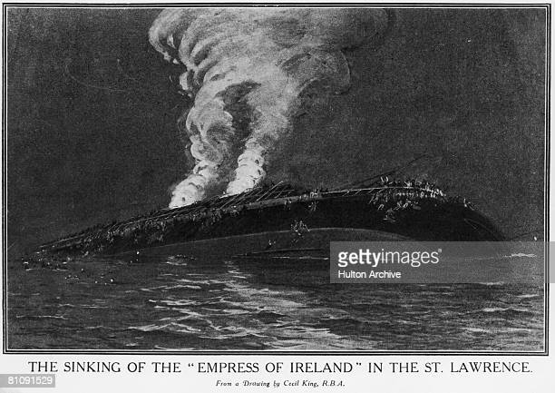The Canadian Pacific ocean liner RMS Empress of Ireland sinks in the Saint Lawrence River near Quebec claiming 1012 lives 29th May 1914 From a...