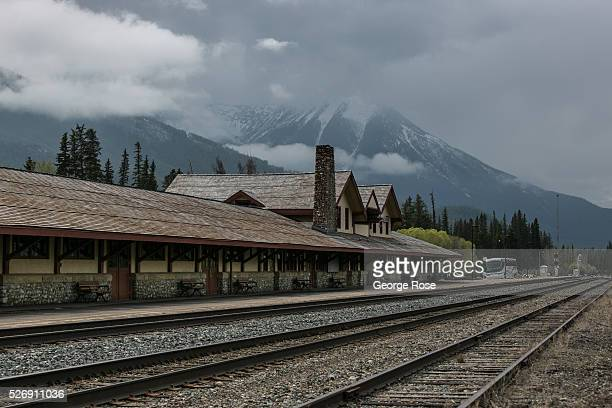 The Canadian Railway train station is viewed on April 26 2016 in Banff Springs Alberta Canada Banff is Canada's oldest National Park and is located...