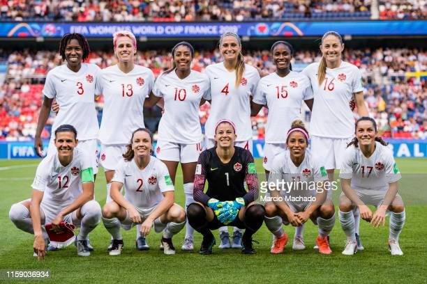 The Canadian Squad pose for a photo before the match during the 2019 FIFA Women's World Cup France Round Of 16 match between Sweden and Canada at...
