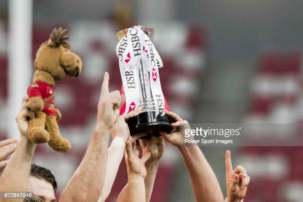 The Canadian team celebrates winning the Cup Final of the HSBC Singapore Rugby Sevens as part of the World Rugby HSBC World Rugby Sevens Series...