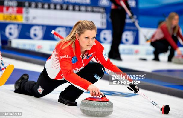 The Canadian team competes during the Curling World Championship match Canada v China in Silkeborg Denmark on March 20 2019 / Denmark OUT