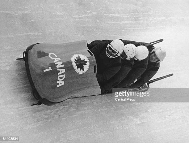 The Canadian team competing in the final run of the fourman bobsleigh event at the 1964 Winter Olympics in Innsbruck Austria 7th February 1964 The...