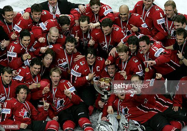 The Canadian team jubilates with the trophy after defeating team Finland 4-2 during the IIHF World Ice Hockey Championship final match between Canada...