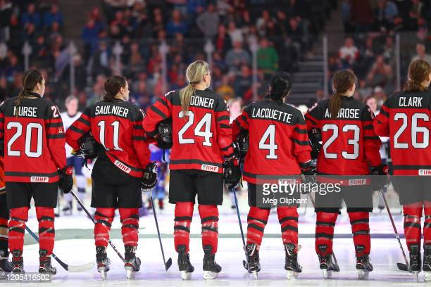 The Canadian Women's National Team lines up ahead of the game against the U.S. Women's Hockey Team at Honda Center on February 08, 2020 in Anaheim,...