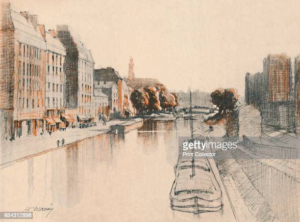 The Canal St. Martin, c1927, . From A Book About Paris by George and Pearl Adam. [Jonathan Cape, London, 1927]. Artist Henry Franks Waring.