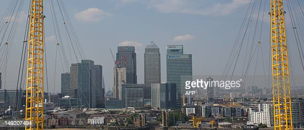 The Canary Wharf district is seen from on top of the North Greenwich Arena on July 25 2012 in London where the 2012 Summer Olympic Games will start...