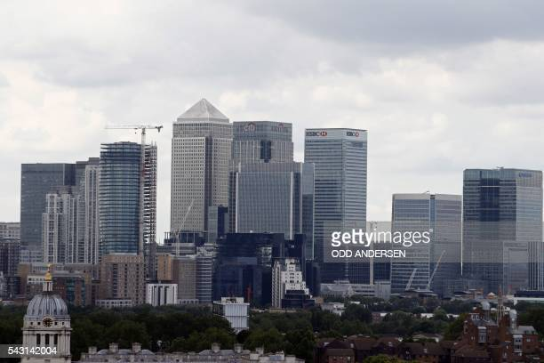 The Canary Wharf finance district of London encompasing the offices of HSBC Citigroup JPMorgan Chase Barclays and other global banking corporations...