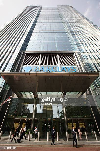 The Canary Wharf headquarters of Barclays Bank, who have been fined 290 million GBP for manipulating the Libor inter-bank lending rate, on June 28,...
