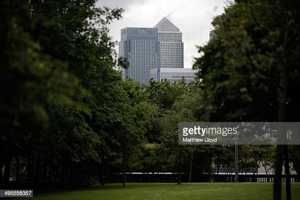The Canary Wharf skyline seen from parkland in Greenwich Millenium Village on June 4 2014 in London England Mark Carney Governer of the Bank of...