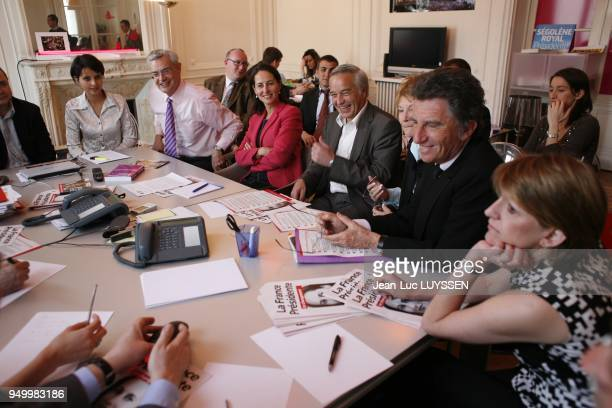 The candidate during a meeting in her office Najat Belkacem JeanLouis Bianco Thierry Lajoie Benoit Pichard Segolene Royal Francois Rebsamen Jack Lang...