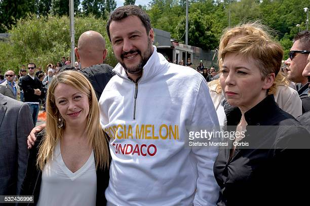 The candidate for mayor of Rome Giorgia Meloni the secretary of the Northern League Matteo Salvini and Irene Pivetti candidate to the City of Rome...