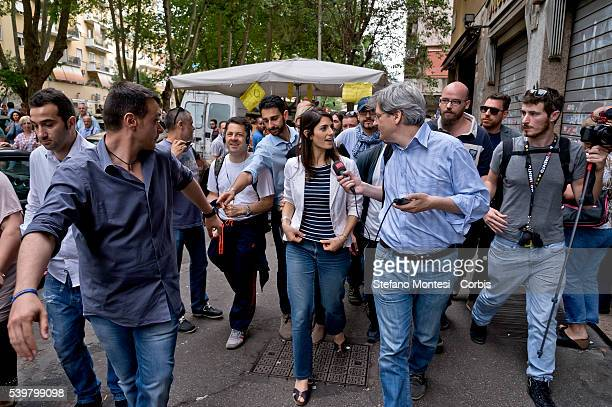 The candidate for mayor of Rome Virginia Raggi meets the inhabitants of the Cinecittà neighborhood on June 11 2016 in Rome Italy