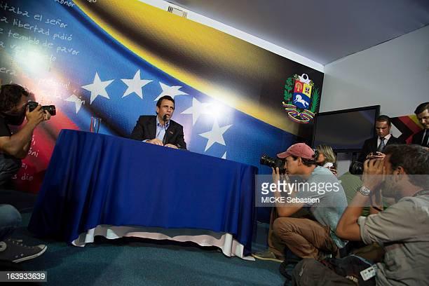 the candidate for presidential elections of Venezuela Henrique Capriles speaks on March 08 2013 in Caracas Venezuela