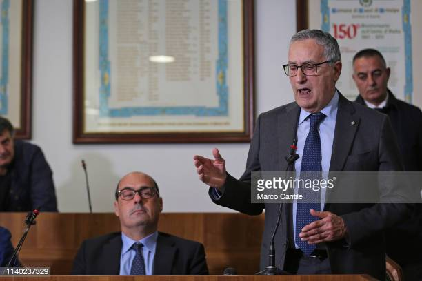 The candidate for southern Italy of the Democratic Party Franco Roberti and Nicola Zingaretti during the press conference in Casal Di Principe for...