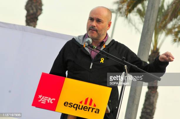 EL VENDRELL TARRAGONA SPAIN The candidate for the demarcation of Tarragona Jordi Salvador of ERC seen speaking during the parliaments of the...