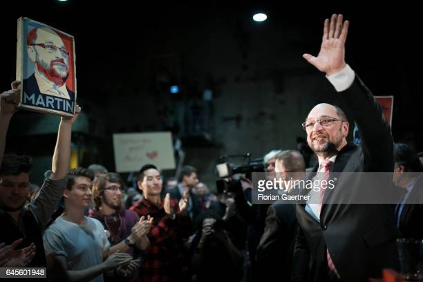 The candidate for the german chancellorship of the Social Democratic Party of Germany Martin Schulz is pictured after a speech to members of his...