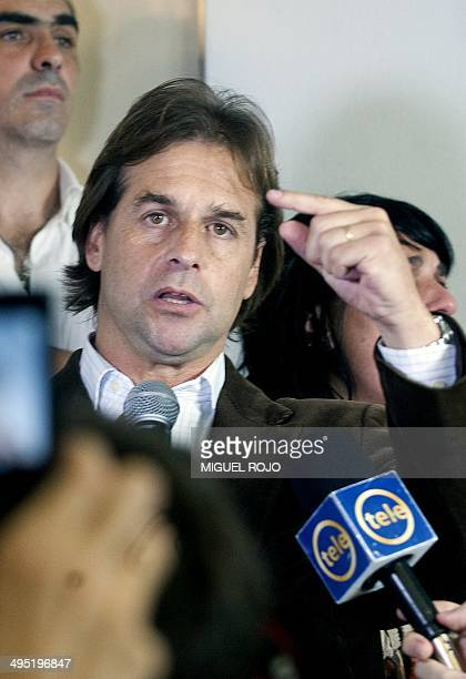 The candidate for the National Party Luis Lacalle Pou the 40yearold son of former president Luis Alberto Lacalle speaks after winning the primary...