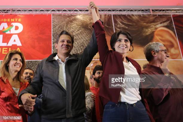 The candidate for the presidency of brazil Fernando Haddad talks with militants and the press after the result of the first round of elections in Sao...