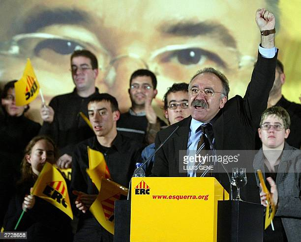 The candidate for the presidency of the Catalan Republican Left Party Josep Lluis CarodRovira gives a speech during the final rally of the Spanish...