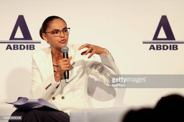 The candidate for the Presidency of the Republic of Brazil Marina Silva participates in the Abdib Forum at the Tivoli Mofarrej Hotel in São Paulo on...