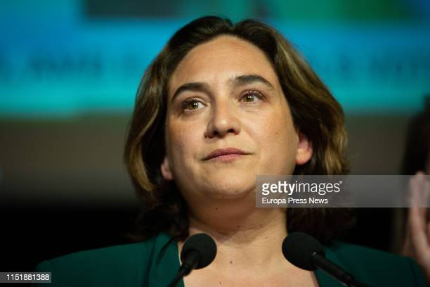 The candidate of En Comu to the mayoralty of Barcelona, Ada Colau, talks to the press after knowing the loss of the mayoralty on May 27, 2019 in...