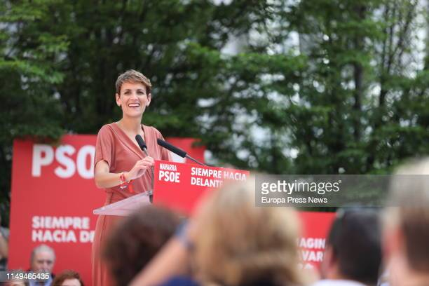 The candidate of PSOE to the presidency of Navarra Maria Chivite is seen in a political act on May 15 2019 in Pamplona Spain