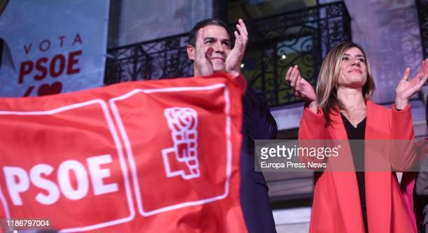 The candidate of PSOE to the presidency of the Government, Pedro Sanchez, and his wife, Begoña Gomez, celebrate the results during the 10N election...