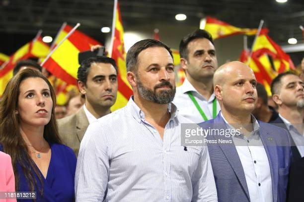 The candidate of Vox to the Congress, Rocío de Meer , the president of Vox, Santiago Abascal , and the deputy of Vox at the Parliament of Andalucia,...