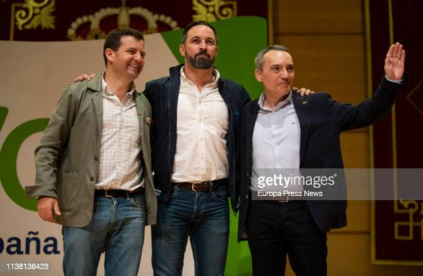 The candidate of Vox to the Parliament from Ciudad Real Ricardo Chamorro the president of Vox Santiago Abascal and the leader in the province Antonio...