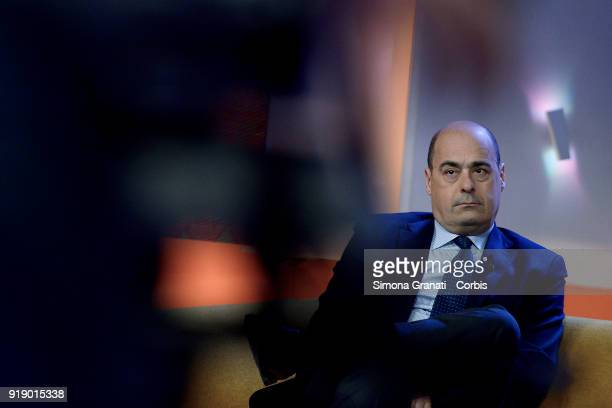 The candidate to the Presidency of the Lazio Region for the centreleft Nicola Zinzaretti attends Tagada  talk show on February 16 2018 in Rome Italy...