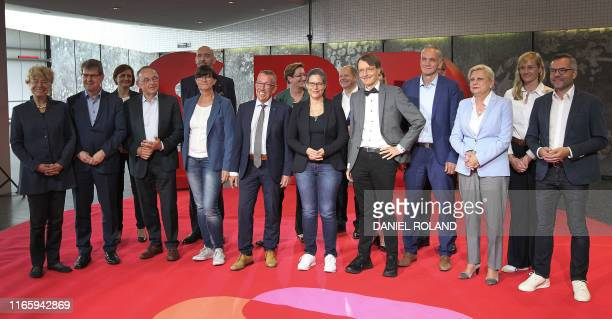 The candidates for the chair of Germany's Social Democratic Party SPD are pictured during a media presentation in Saarbruecken southwestern Germany...