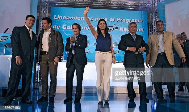 The candidates for the primary elections of Venezuelan opposition Democratic Unity coalition Leopoldo Lopez Capriles Radonsky Diego Arrias Maria...