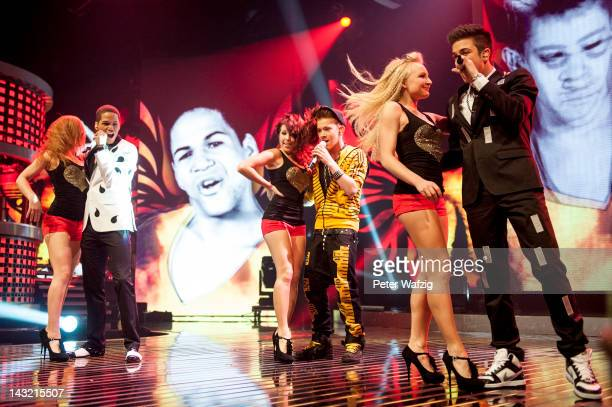 The candidates perform the group song during the 'Deutschland Sucht Den Superstar' Semifinal Rehearsal at Coloneum on April 21 2012 in Cologne Germany