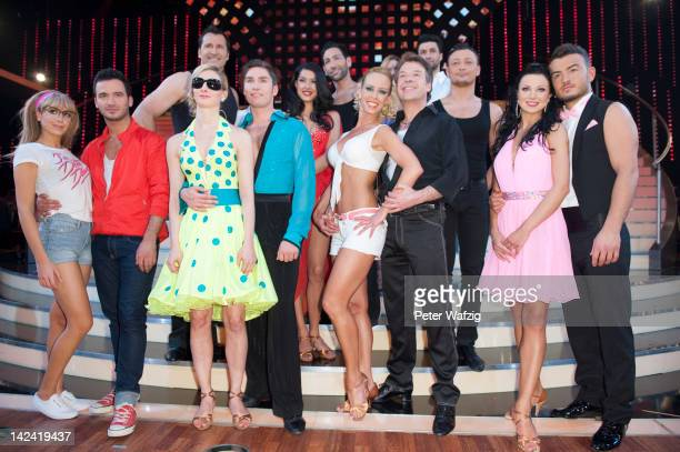 The candidates posing for a group photo during the photocall of 'Let's Dance' 4th Show at Coloneum on April 04 2012 in Cologne Germany