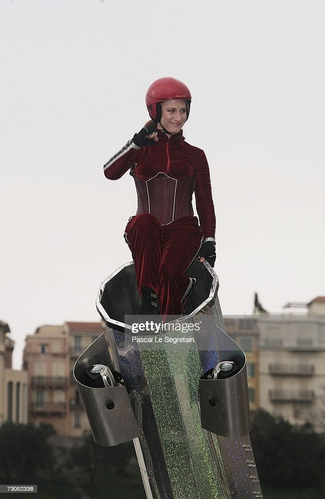 'The Cannon Woman,' Robin Valencia, performs an acrobatic act during the Street Circus Parade during the 31th International Circus Festival of Monte-Carlo on January 20, 2007 in Monaco.