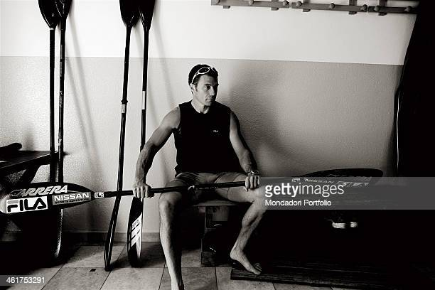 The canoeist Antonio Rossi during a photo shooting Lago di Pusiano Italy 2008