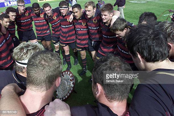 The Canterbury NPC team huddle around the Ranfurly Shield after their Ranfurly Shield and Air New Zealand first division NPC Rugby match against...