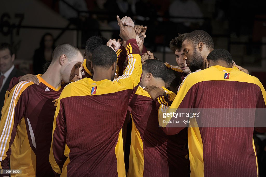 The Canton Charge huddle together prior to the game against the Maine Red Claws at the Canton Memorial Civic Center on November 23, 2012 in Canton, Ohio.