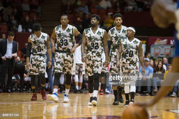 The Canton Charge take the court after a time out against the Fort Wayne Mad Ants at the Canton Memorial Civic Center on March 4 2017 in Canton Ohio...