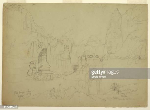 The Canyon of the Rio Virgin, South Utah, Thomas Moran, American, b. Britain, 1837–1926, Graphite on tan wove paper, Recto: Horizontal view of rock...