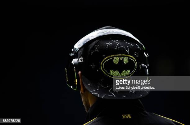 The cap of PierreEmerick Aubameyang of Dortmund depicting Batman is seen prior to the Bundesliga match between Borussia Dortmund and Werder Bremen at...