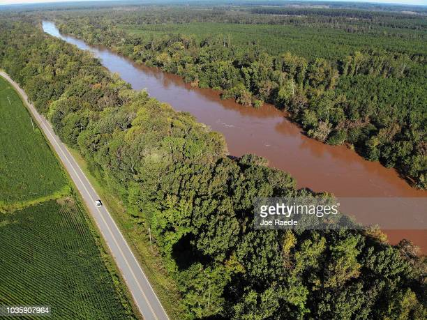 Flood waters isolate homes in the aftermath of Hurricane Florence September 19 2018 ian Lumberton North Carolina The death toll from the storm stands...