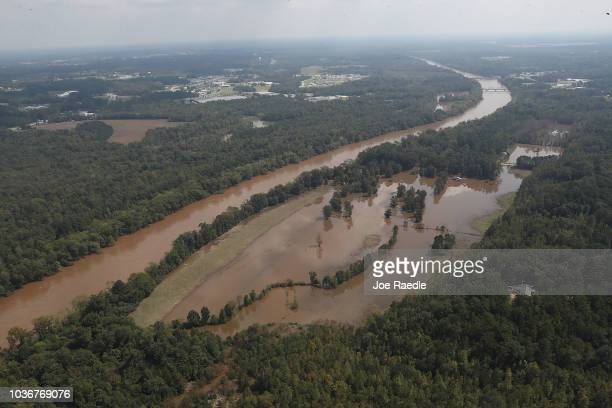 The Cape Fear river is seen on September 20, 2018 in Lillington, North Carolina. The river crested at 61.4 feet a day ago from the rains caused by...