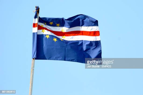 The Cape Verde Islands flag at full mast