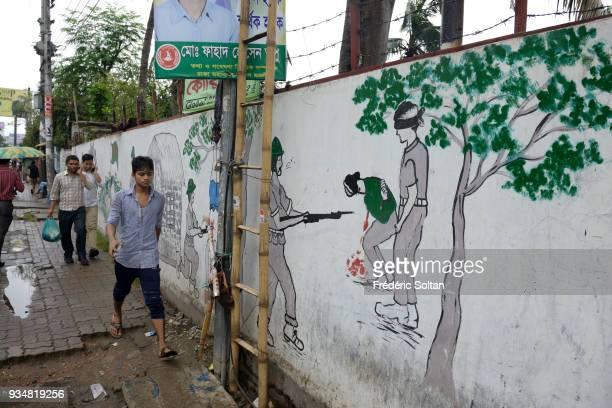 The capital city of Dhaka Mural painting and graffitis illustrating the Bangladesh Liberation War of 1971 in Dhaka the capital of Bangladesh in June...